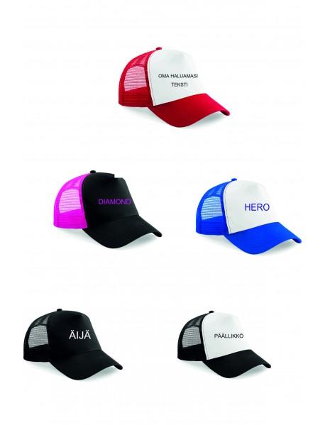 Snapback Trucker-lippis, omalla haluamallasi tekstillä, kuvalla tai logolla